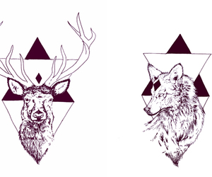 black & white, deer, and design image