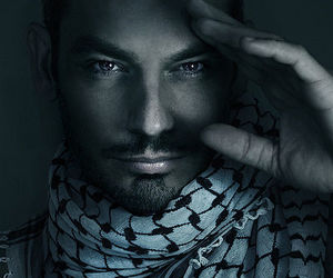 black and white, keffiyeh, and model image