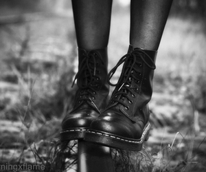 b&w, dr martens, and black and white image