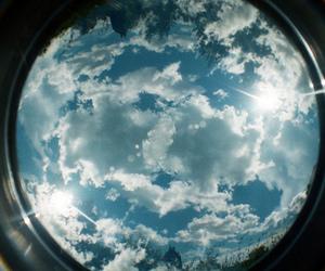 sky, clouds, and fisheye image