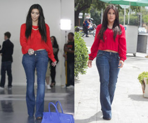 kim kardashian, long hair, and denim outfit image