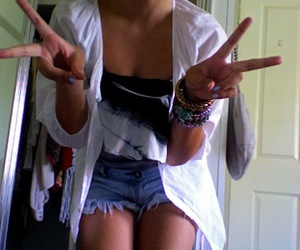 jeans, shorts, and white image