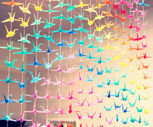 birds, colors, and origami image