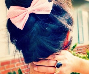 hair, bow, and pink image