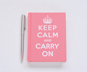 pink, keep calm, and book image