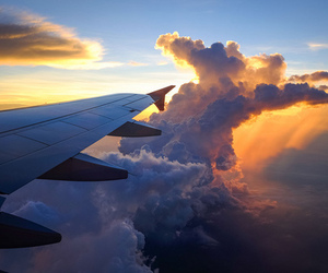 clouds, plane, and travel image