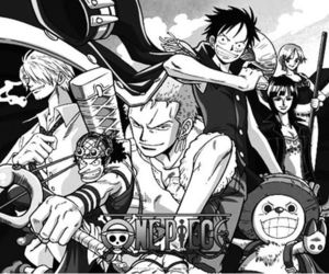 anime, black and white, and one piece image