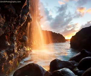 nature, sunlight, and waterfalls image