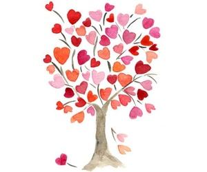 love, tree, and hearts image