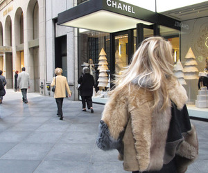 chanel, blonde, and fur image