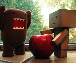 domo kun and apple. happy day image