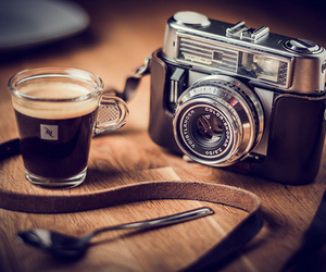 camera, coffee, and photography image