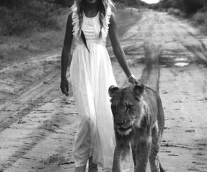 girl, lion, and black and white image