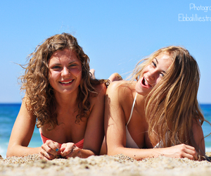 beach, girls, and hair image