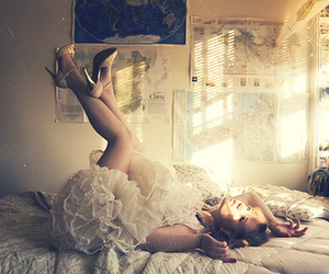 girl, dress, and bed image