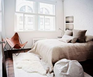 bed, bedroom, and brick image