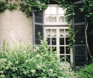 window, garden, and house image