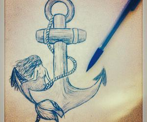 anchor, dessin, and mermaid image