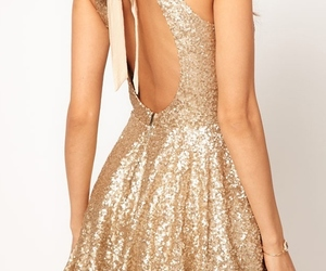 dress, gold, and glitter image