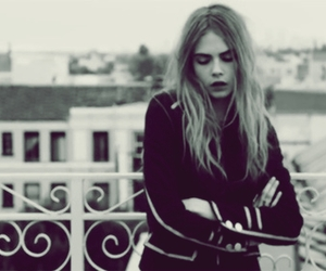 black and white, model, and cara delevingne image