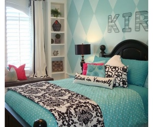 bedroom, blue and black, and pillows image