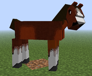 cubes, horses, and blocky image