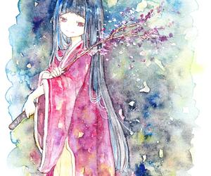 kimono and watercolor image