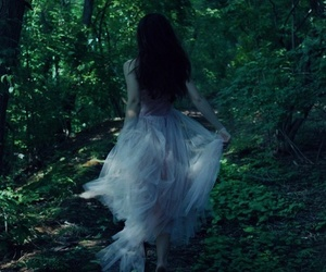 girl, forest, and dress image