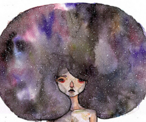 galaxy, hair, and art image