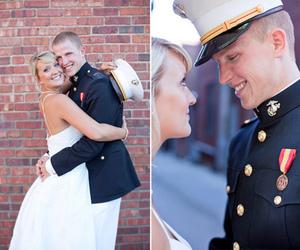 bride, dress, and Marines image