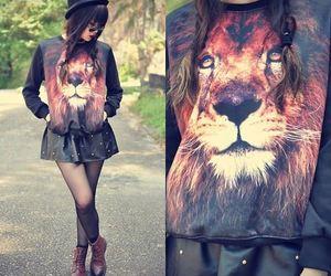fashion, girl, and lion image