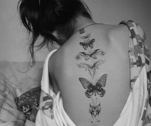 tattoo, butterfly, and black and white image