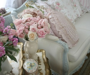 pastel, shabby chic, and sofa image