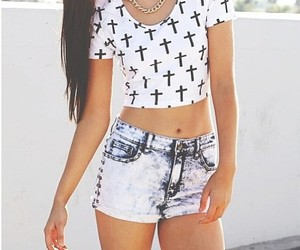 fashion, cross, and shorts image