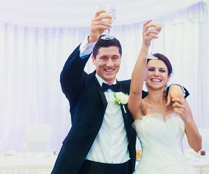 wedding, footballer, and robert lewandowski image