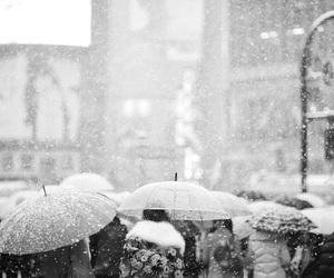 snow, people, and umbrella image