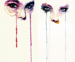 eyes, art, and watercolor image