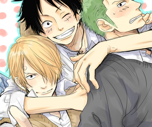 onepiece, monster trio, and luffy image