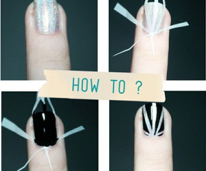 nails, tutorial, and black image