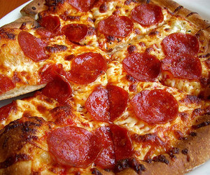 food, pizza, and pepperoni pizza image
