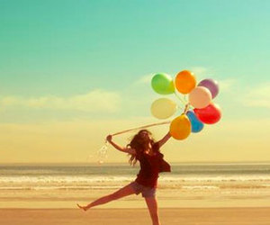 beach, happiness, and balloons image