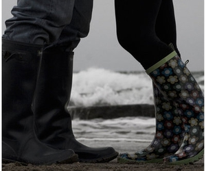 beach, galoshes, and love image