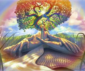 trippy, tree, and meditation image
