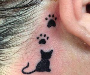 cat, paw, and tattoo image
