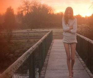 girl, skinny, and sunset image