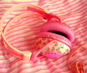pink, strawberry, and headphones image