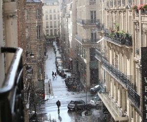 city, snow, and street image