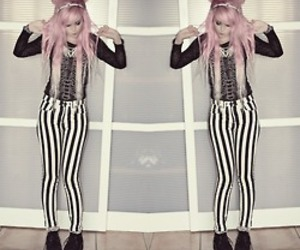 pastel goth, pink hair, and pastel image