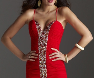 beaded, formal, and red image