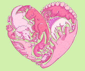 dinosaur, pink, and heart image
